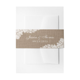 The Rustic Burlap & Vintage White Lace Collection Invitation Belly Band