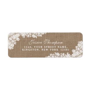 The Rustic Burlap & Vintage White Lace Collection Label at Zazzle