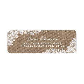 The Rustic Burlap & Vintage White Lace Collection Label