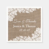 The Rustic Burlap & Vintage White Lace Collection Napkin