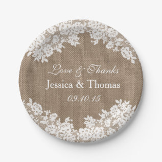 The Rustic Burlap & Vintage White Lace Collection Paper Plate at Zazzle
