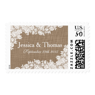 The Rustic Burlap & Vintage White Lace Collection Postage
