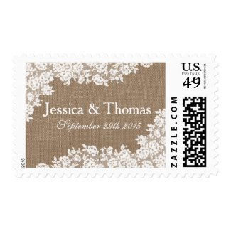 The Rustic Burlap & Vintage White LacePostage Stamps