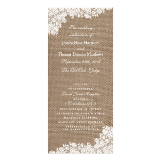 The Rustic Burlap & Vintage White Lace Collection Rack Card