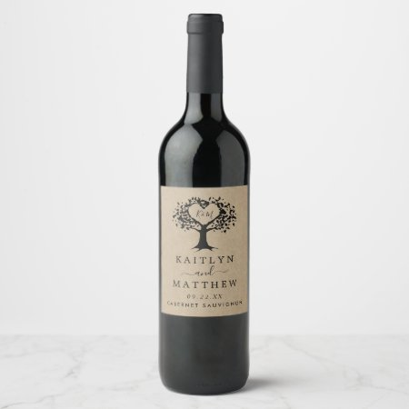 The Rustic Heart Tree Wedding Collection Wine Label