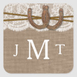 The Rustic Horseshoe Wedding Collection Seals Square Sticker