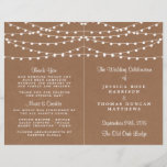 """The Rustic Kraft String Lights Wedding Collection<br><div class=""""desc"""">Simple yet elegant, the string lights on rustic Kraft wedding collection is a stunning design featuring lovely white hanging string lights on a Kraft effect background, which is perfect for any rustic wedding celebration. These programs can be personalized for your special occasion and would make the perfect order of service...</div>"""