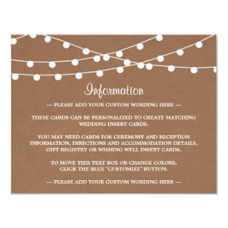 The Rustic Kraft String Lights Wedding Collection 4.25x5.5 Paper Invitation Card