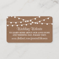 The Rustic Kraft String Lights Wedding Collection Enclosure Card