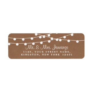 The Rustic Kraft String Lights Wedding Collection Label