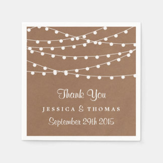 The Rustic Kraft String Lights Wedding Collection Paper Napkin