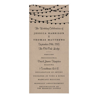 The Rustic Kraft String Lights Wedding Collection Rack Card