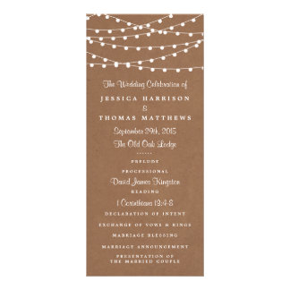 The Rustic Kraft String Lights Wedding Collection Rack Card