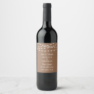 The Rustic Kraft String Lights Wedding Collection Wine Label