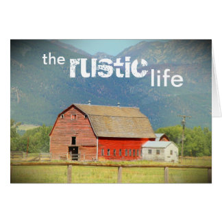 The Rustic Life :: Red Barn :: Montana's Mountains Card