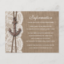 The Rustic Nautical Anchor Wedding Collection Enclosure Card