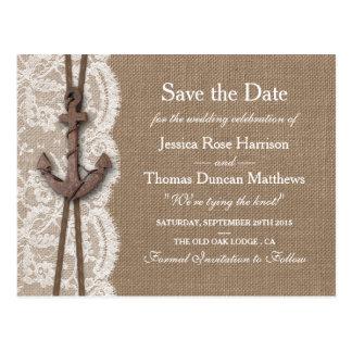 The Rustic Nautical Anchor Wedding Collection Postcard