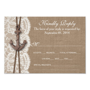 The Rustic Nautical Anchor Wedding Collection RSVP Card at Zazzle