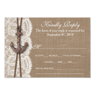 The Rustic Nautical Anchor Wedding Collection RSVP Card