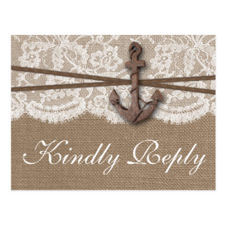 The Rustic Nautical Anchor Wedding Collection RSVP Postcard