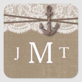 The Rustic Nautical Anchor Wedding Collection Square Sticker