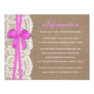 The Rustic Pink Bow Wedding Collection Detail Custom Invites