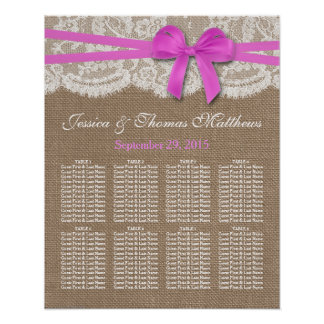 The Rustic Pink Bow Wedding Collection Seating Print