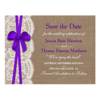 The Rustic Purple Bow Collection Save The Date Postcard