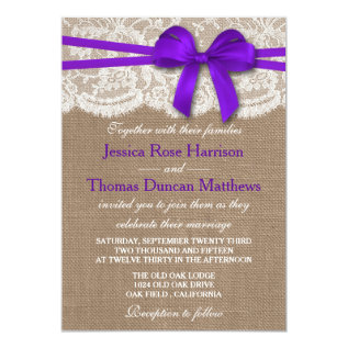 The Rustic Purple Bow Wedding Collection Card at Zazzle