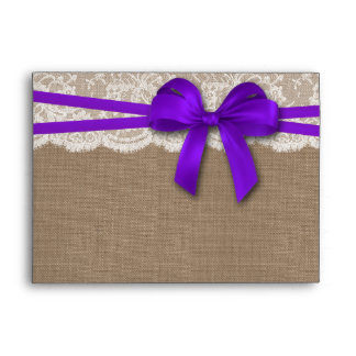 The Rustic Purple Bow Wedding Collection Envelopes