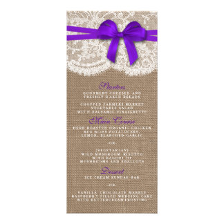 The Rustic Purple Bow Wedding Collection Menu Card Personalized Rack Card