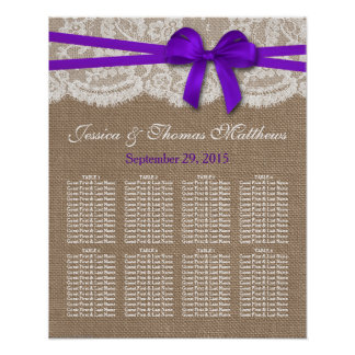 The Rustic Purple Bow Wedding Collection Seating Print