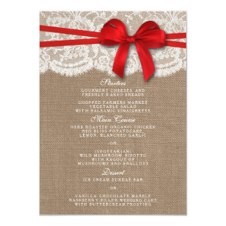 """The Rustic Red Bow Wedding Collection Menu Cards 4.5"""" X 6.25"""" Invitation Card"""