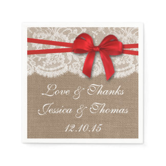 The Rustic Red Bow Wedding Collection Paper Napkin