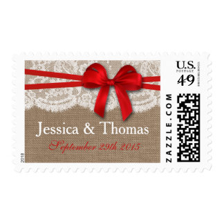 The Rustic Red Bow Wedding Collection Stamp