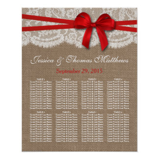 The Rustic Red Bow Wedding Collection Seating Plan Poster