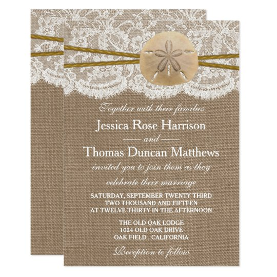 The Rustic Sand Dollar Beach Wedding Collection Invitation