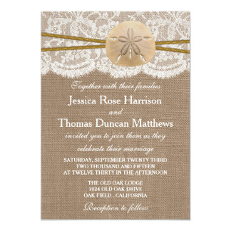 The Rustic Sand Dollar Beach Wedding Collection 5x7 Paper Invitation Card