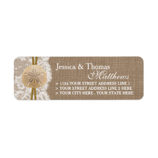 The Rustic Sand Dollar Beach Wedding Collection Label