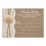 The Rustic Sand Dollar Wedding Collection RSVP 3.5x5 Paper Invitation Card