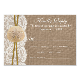 The Rustic Sand Dollar Wedding Collection RSVP Personalized Invitations