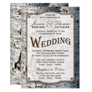 The Rustic Silver Birch Tree Wedding Collection Card at Zazzle