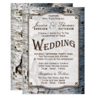 The Rustic Silver Birch Tree Wedding Collection Invitation