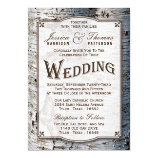 The Rustic Silver Birch Tree Wedding Collection 5x7 Paper Invitation Card