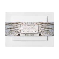 The Rustic Silver Birch Tree Wedding Collection Invitation Belly Band