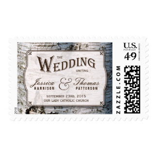 The Rustic Silver Birch Tree Wedding Collection Postage Stamp