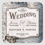 The Rustic Silver Birch Tree Wedding Collection Square Sticker