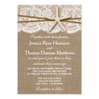 The Rustic Starfish Beach Wedding Collection 5x7 Paper Invitation Card