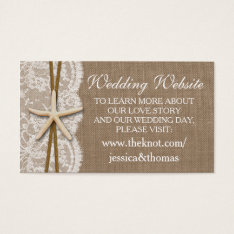 The Rustic Starfish Beach Wedding Collection Business Card at Zazzle