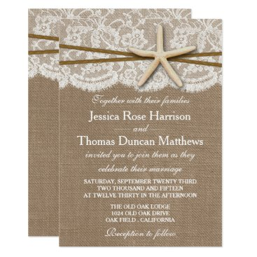 Beach Themed The Rustic Starfish Beach Wedding Collection Card